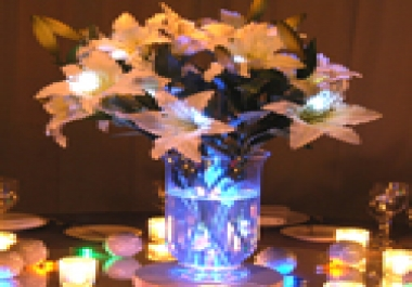 custom make an LED centerpiece with your choice of colors and flowers
